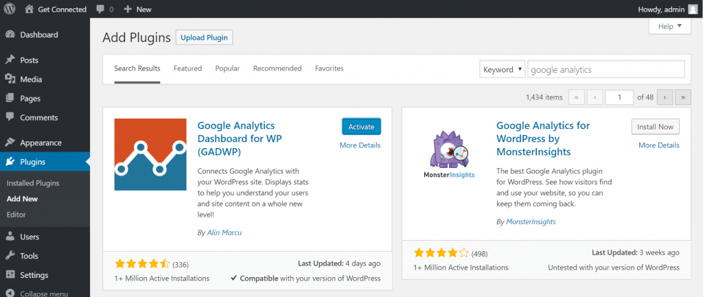 WordPress Plugin Google Analytics Dashboard for WP