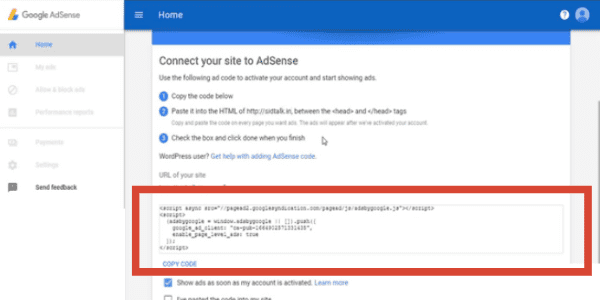 Google Adsense Website connection code