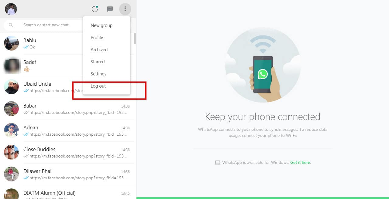 how to logout from whatsapp web