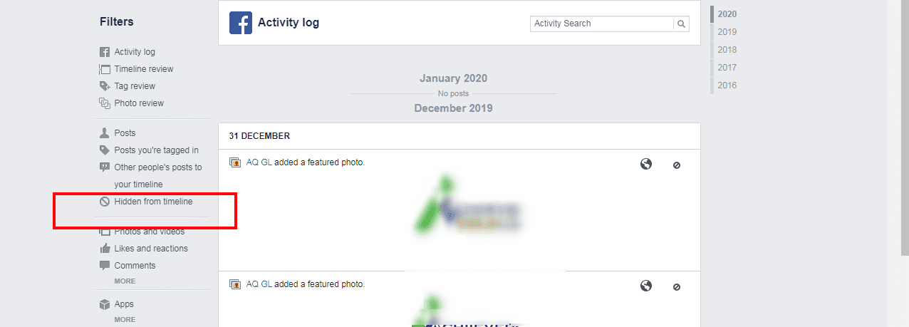 Facebook hidden from timeline
